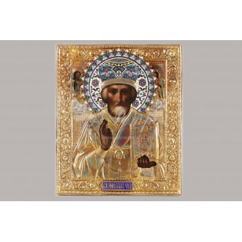 Икона «Святой Николай Чудотворец» в серебряном окладе